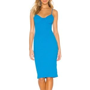 NEW Revolve Superdown blue ribbed midi dress XXS